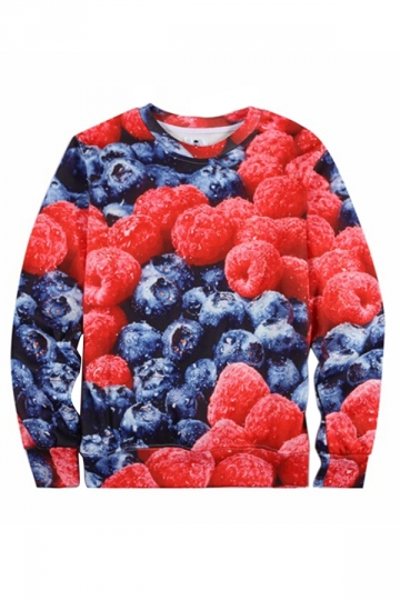 Red Womens 3D Grapes Printed Jumper Crew Neck Pullover Sweatshirt