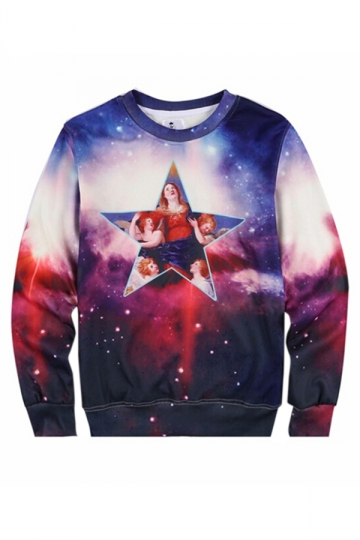Blue Galaxy Goddess Printed Ladies Crew Neck Jumper Sweatshirt