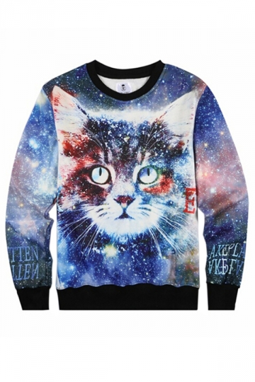 Blue Thick Galaxy Cat Printed Womens Crew Neck Jumper Sweatshirt