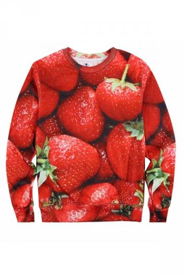 Red 3D Strawberry Printed Cute Ladies Crew Neck Jumper Sweatshirt