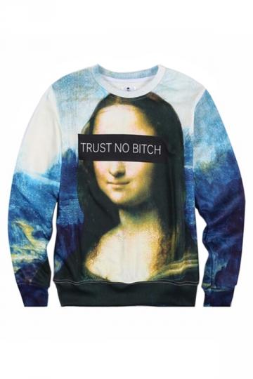 3D Mona Lisa Printed Ladies Thick Jumper Crew Neck Sweatshirt