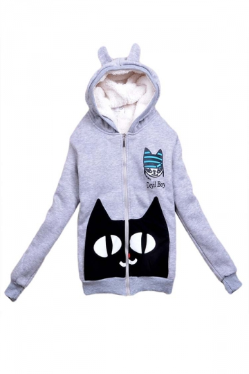 Gray Cute Ladies Pullover Cat Printed Cotton Lamb Ear Warm Hoody