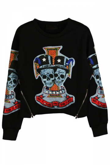 Black Crew Neck Pullover Skull in Hat Patchwork Print Sweatshirt