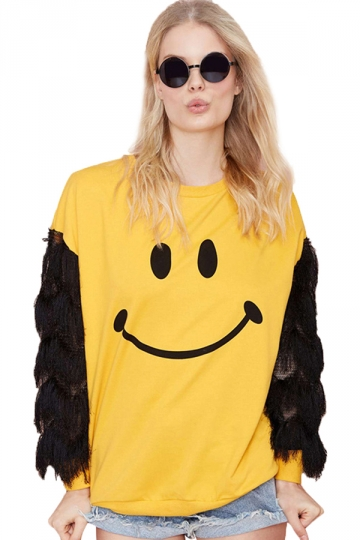 Yellow Girls Crew Neck Fringe Smiley Face Print Jumper Sweatshirt