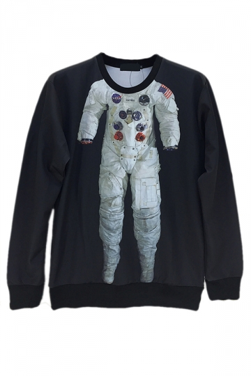 Black Ladies Pullover Crew Neck Astronaut Printed Sweatshirt