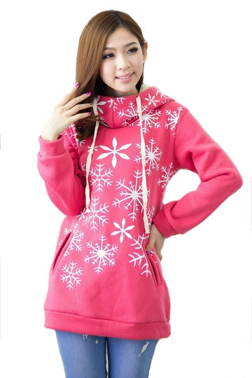 Rose Red Chic Womens Pullover Lined Thick Snowflake Printed Hoody