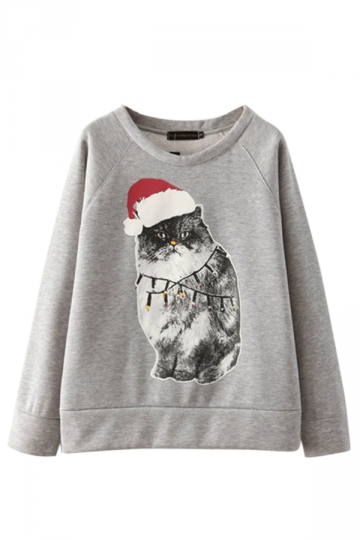 Gray Ladies Crew Neck Pullover Christmas Cat Printed Sweatshirt