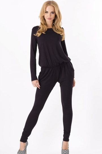Black Long Sleeves Casual Womens Plain Slim Jumpsuit - PINK QUEEN