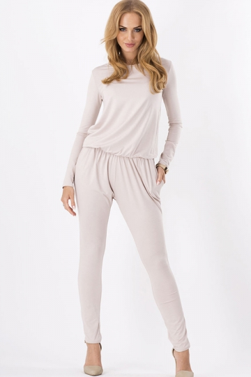 Beige Long Sleeves Casual Womens Plain Slim Jumpsuit - PINK QUEEN