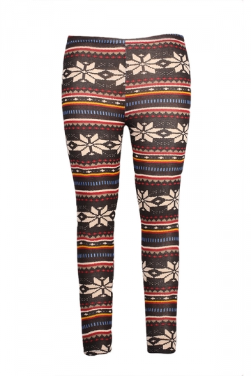 Red Womens Snowflake Printed Christmas Knitted Sweater Leggings