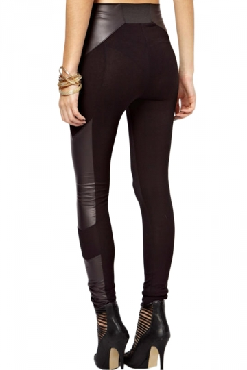 Black Ladies Sexy Faux Leather Patchwork Cool Leggings