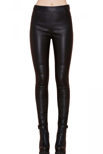 Black Punk Womens Plain Patchwork Skinny Leather Leggings