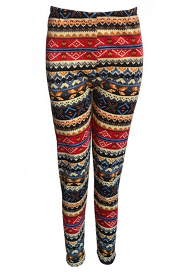Red Elegant Womens Christmas Warm Lined Pattern Sweater Leggings