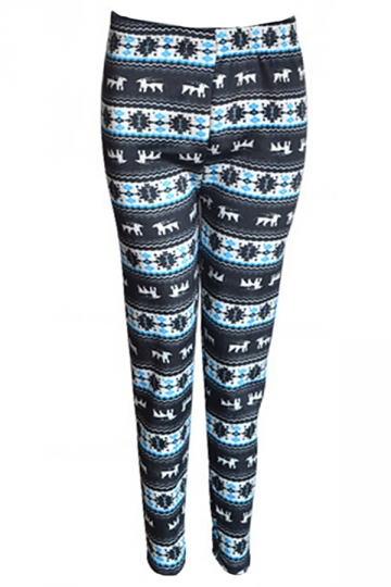 Blue Sexy Ladies Christmas Reindeer Lined Thick Sweater Leggings
