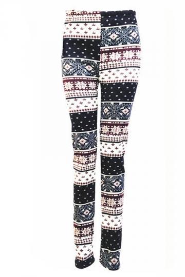 Black Womens Snowflake Plaid Christmas Lined Sweater Leggings