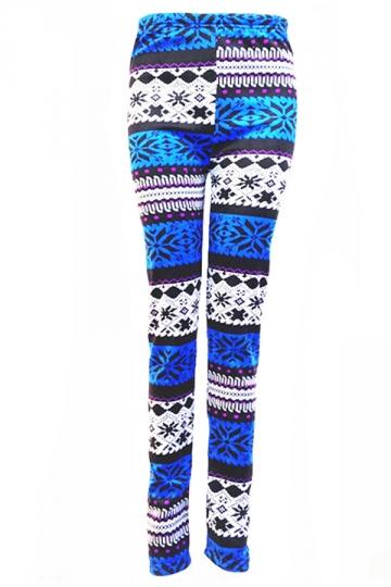 Blue Ladies Lined Snowflake Pattern Christmas Sweater Leggings