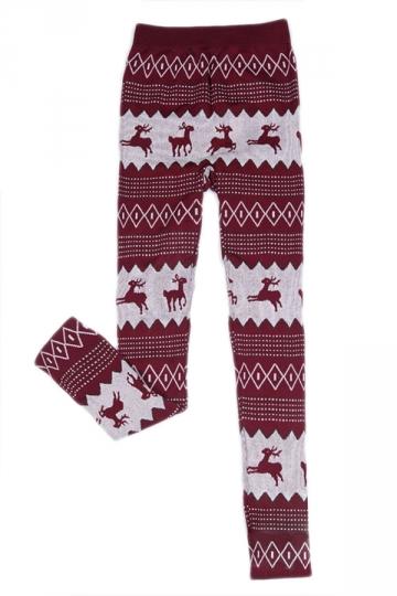 Ruby Cute Womens Warm Christmas Reindeer Lined Sweater Leggings