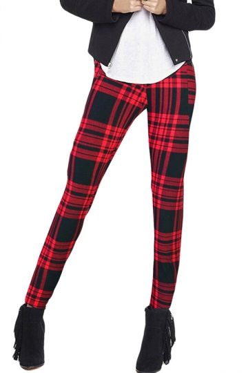 Red Charming Ladies Nine Minutes Plaid Printed Leggings