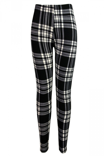 Black Trendy Womens Elastic Nine Minute Plaid Leggings