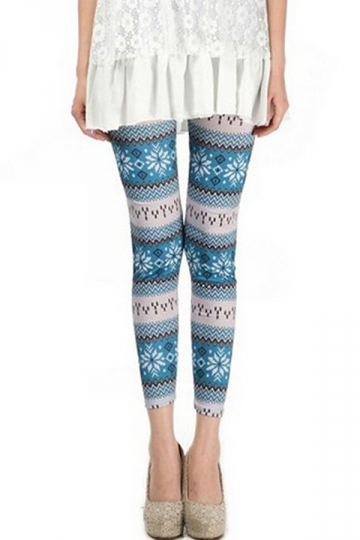 Blue Cool Womens Fit Snowflake Printed Qmilch Sweater Leggings