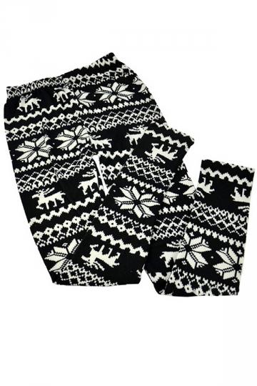 Black Womens Christmas Reindeer Snowflake Warm Sweater Leggings