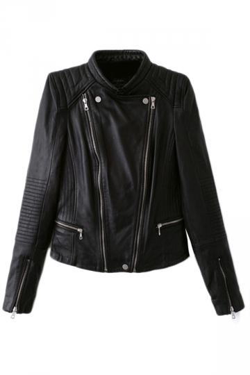 Black Punk Womens Plain PU Double Zipper Motorcycle Jacket