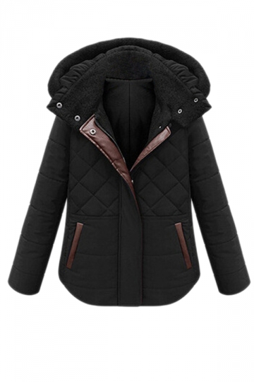 Black Simple Womens Hooded Winter Warm Plain Quilted Coat