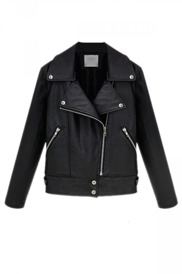 Black Cool Ladies Lapel PU Leather Motorcycle Jacket