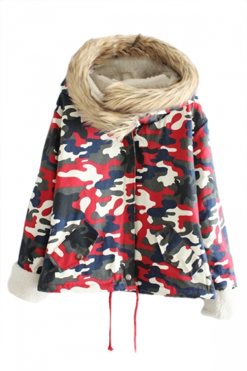 Ruby Womens Fur Hooded Cotton Casual Camouflage Car Coat
