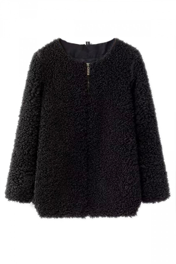 Black Pretty Ladies Crew Neck Zip Winter Warm Faux Fur Coat