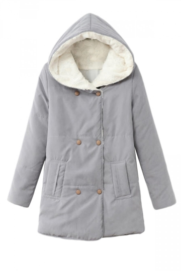 Gray Fashion Womens Plain Winter Warm Pea Hooded Quilted Coat