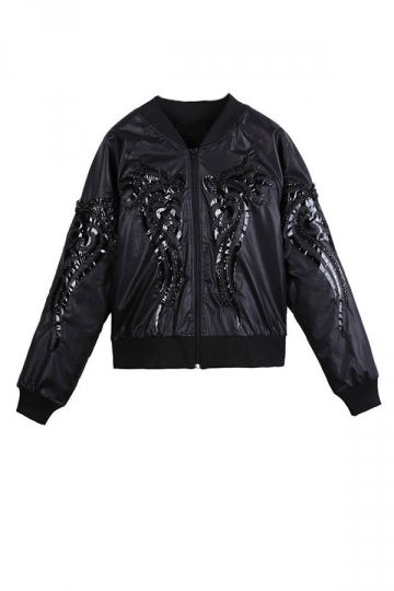 Black Chic Ladies Dragon Stud Plain PU Patchwork Jacket