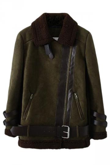 Green Classic Womens Warm Winter Lapel Plain Suede Coat