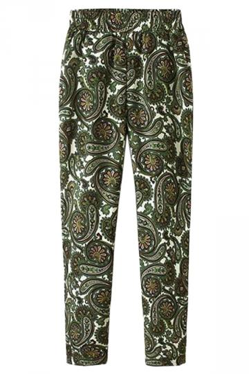 Green Pretty Ladies Cashew Flower Printed Fit Designer Leggings