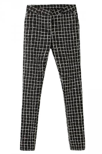 Black Trendy Ladies High Waist Black and White Plaid Leggings
