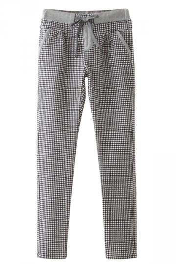 Gray Ladies Thick Lined Elastic Waist Plaid Print Leisure Pants