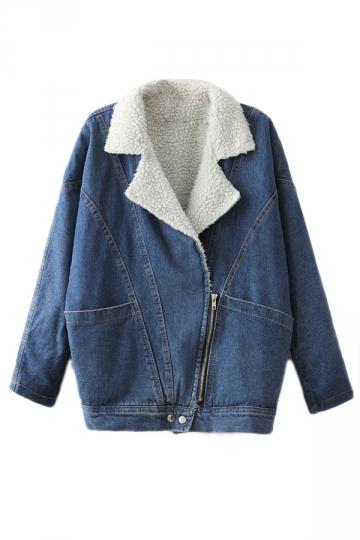 Blue Cool Womens Diagonal Zip Thick Turndown Collar Denim Jacket