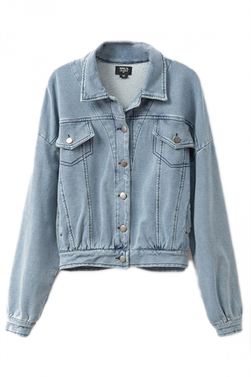 Blue Stylish Womens Winter Cotton Turndown Collar Denim Jacket