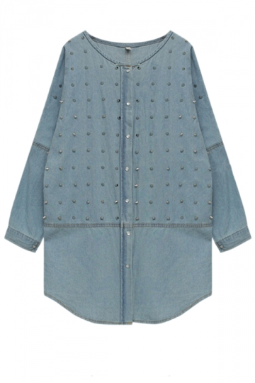 Blue Pretty Womens Rivet Batwing Sleeve Denim Coat