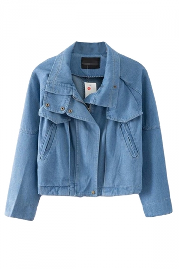 Blue Trendy Womens Turndown Collar Short Denim Jacket