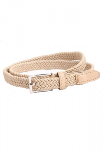 Beige White Pretty Womens Elastic Canvas Knitting Belt