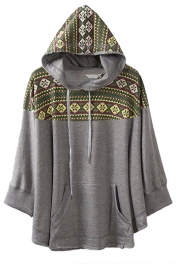Gray Pretty Ladies Christmas Snowflake Print Oversized Hoodie