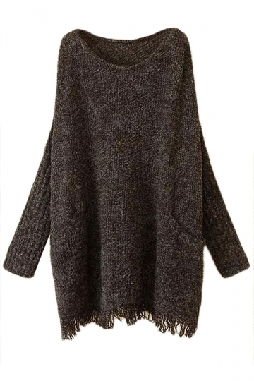 Black Ladies Fringe Batwing Sleeve Oversized Pullover Sweater