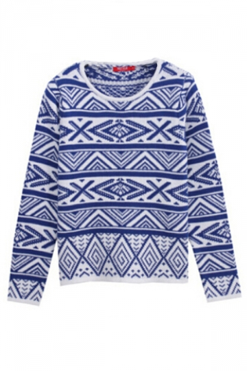 Blue Womens Argyle Printed Long Sleeve Patterned Pullover Sweater