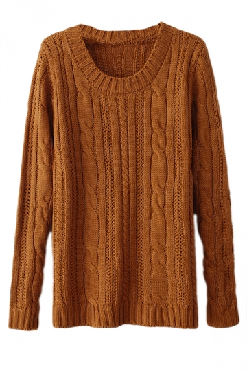 Yellow Sexy Ladies Patchwork Cable Knit Plain Pullover Sweater