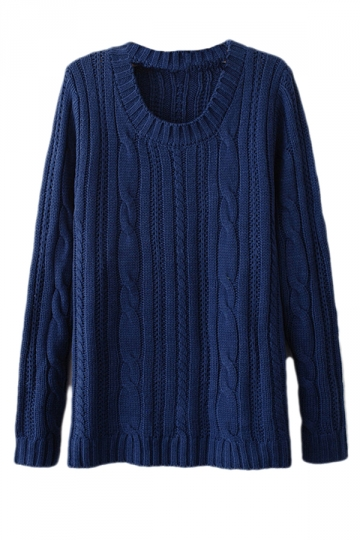 Navy Blue Sexy Ladies Patchwork Cable Knit Plain Pullover Sweater ...