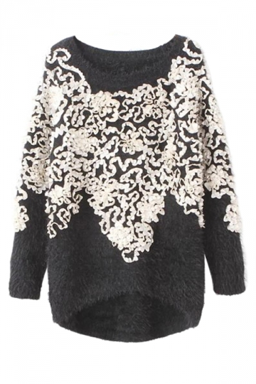 Black Pretty Ladies Retro Floral Patterned Pullover Sweater