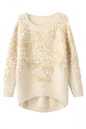 Beige White Pretty Ladies Retro Floral Patterned Pullover Sweater