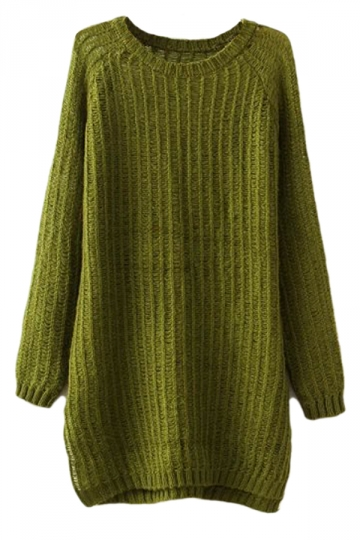 Green Charming Ladies Slit Plain Pullover Long Sweater