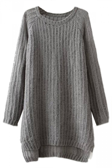 Gray Charming Ladies Slit Plain Pullover Long Sweater